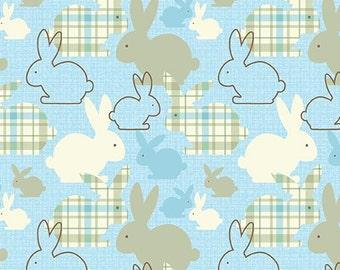 Benartex. Hunny Bunny. Bunch of Bunnies Blue - BTY Cotton Fabric - Choose your cut