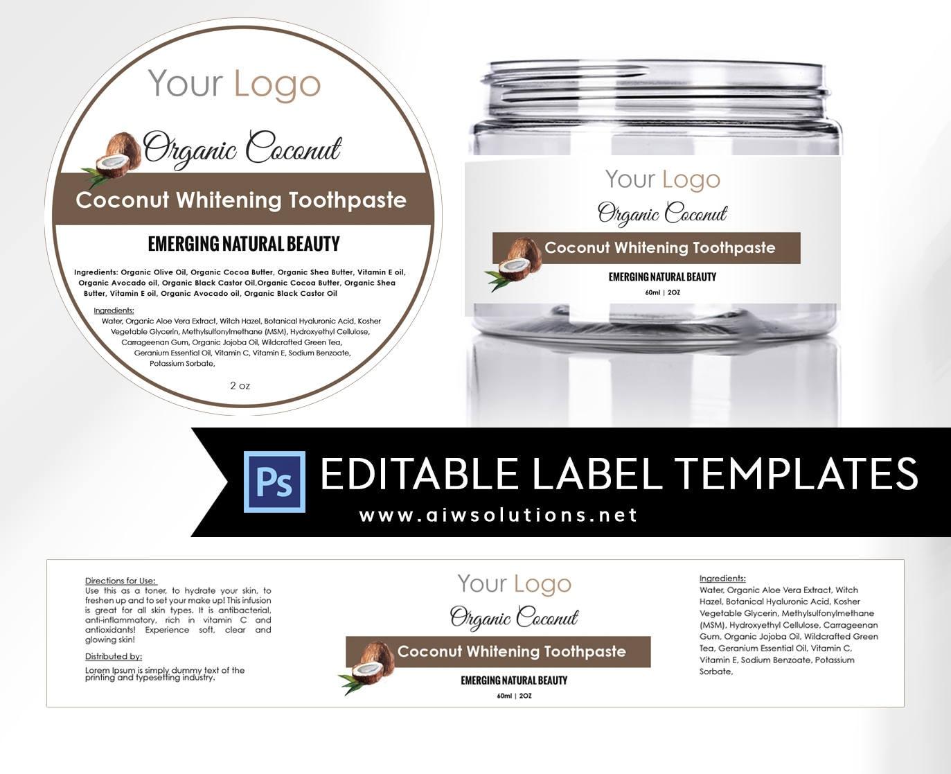 Coconut label template 4oz label 8oz label template Skin