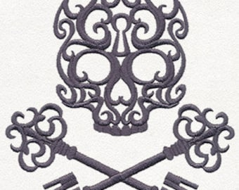 Baroque Passkey Skull Embroidered Flour Sack Hand/Dish Towel