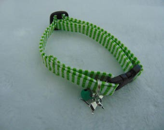 Green and white candy stripe cat collar