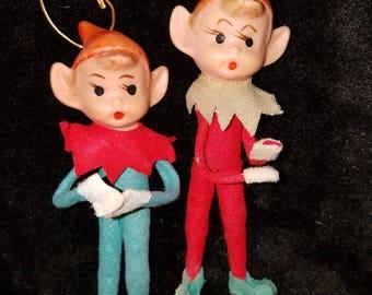 Set of 2 Rubber Face Pixie Elf Christmas Ornaments