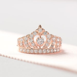Rose Gold Crown Ring - Princess Crown Ring - Sterling Silver Tiara Ring - Crown Engagement Ring - Unique Engagement Ring - A14