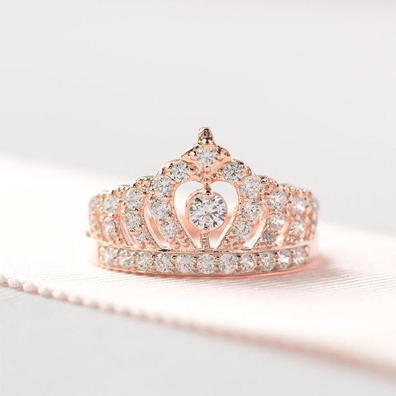 Super Rose Gold Crown Ring Princess Crown Ring Sterling Silver JZ58