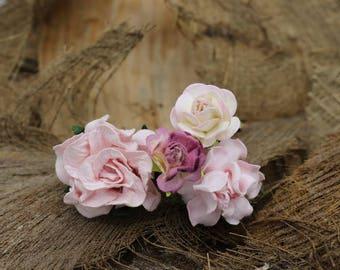 Set of 4 Small  Pink Peach Mulberry Paper Flower Hair Pins , Bridal Hair Pins, Hair Bobby Pins,U pins,Prom,Bridal Hair Accessories (FL352)
