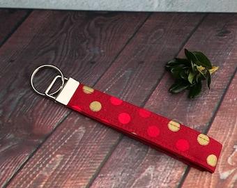 Red polka dot key fob, wristlet, stocking stuffer, Christmas Key fob
