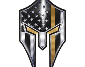 Warrior Spartan Thin Gold Line Reflective Decal - 4 in SKU: D777-0002