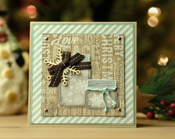 Mason Jars of Snowflakes Christmas Card