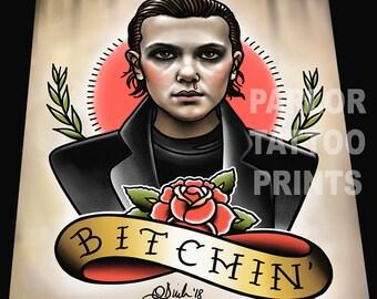 Eleven Bitchin' Tattoo Art Print