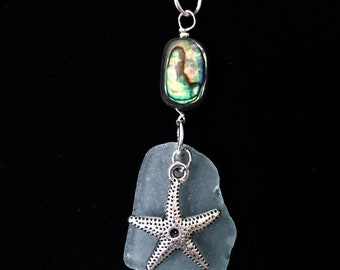 Blue sea glass and abalone pendant with starfish charm