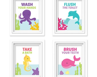 Sea Bathroom Prints, Ocean Bathroom Art, Under the Sea Decor, Boy and Girl Bathroom