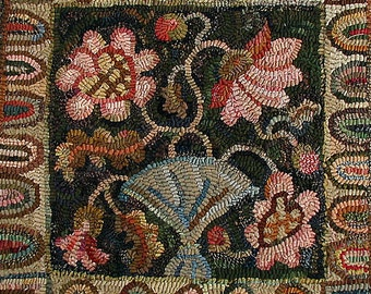 Peony Pillow rug hooking pattern on linen//floral primitive design