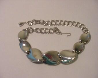 Vintage Chunky Silver Tone Metal Adjustable Necklace  12 - 69