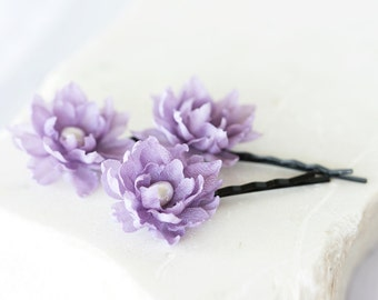 717_Lilac floral hair pins, Purple wedding flowers, Flowers in hair, Hair accessories for bridesmaid, Lilac wedding, Flowers hair pins.