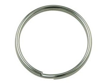 Pack of 10 nickel plated 25mm split ring, keyring, keyring holder