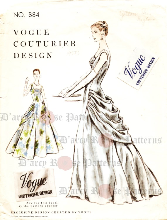 Vogue 884 Evening Dress Sewing Pattern Vintage 1950s Ball Gown