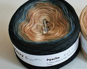 Apache - Gradient Yarn - Cotton Yarn - Acrylic Yarn - Ombré Yarn - Black Yarn - Blue Yarn - Tan Yarn - Wolltraum Yarn -Fingering Weight Yarn