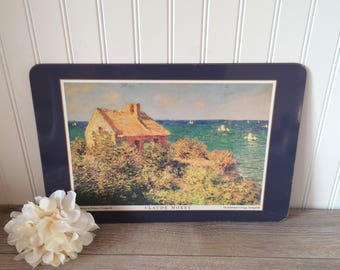 Vintage Place mat w. Image by Claude Monet, The Fisherman's Cottage, Varengeville / Cork Back Placemat / Retro Kitchenware / Memorabilia