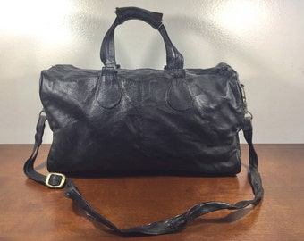 Black Leather Duffel Bag, Duffle Bag, Gym Bag, Travel Bag
