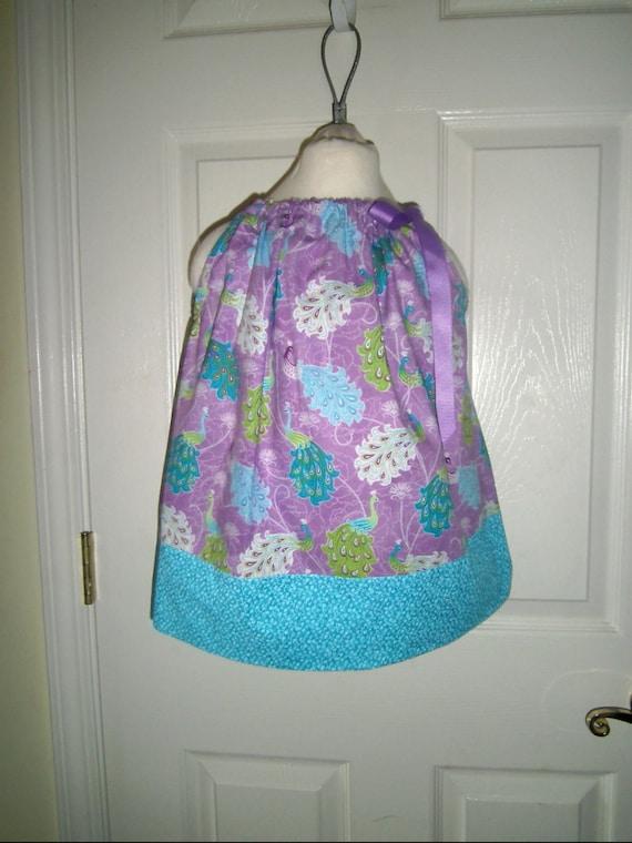 Girls Dress,Sale, Birds-Peacocks, Purple, Teals, Summer Dress, Party Dress, Summer Cover-up, Pillowcase Dress, Infants,Toddler, Tweens