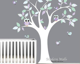 Tree Wall Decal with Owls and Birds-Nursery Wall Stickers-Vinyl Wall Decals-Chevron Pattern-Lilac, lavender,mint-Children's Decor-e161