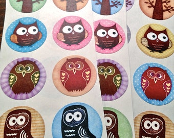 Owl Seals Stickers - woodland
