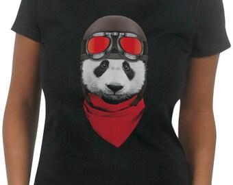 Vintage Motorcycle Panda Women's T-Shirt