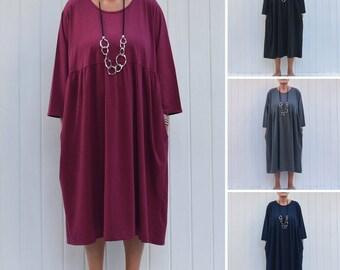 Plus Size Quirky Cotton Smock Dress, Pleated Bustline, Lagenlook Dress, Prairie Dress, Maxi Dress, UK 16-32 1X 2X 3X 4X 5X  9449