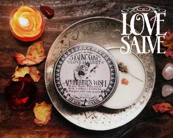 Love Anointing Balm *Aphrodite's Wish* with Essential Oils, Herbs and Crystals -Cardamom, Lavender, Rose, Vanilla, Ylang Ylang & Rose Quartz