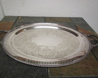 vintage William Rogers Silverplate 17 inch Oval serving tray with handles #4080.