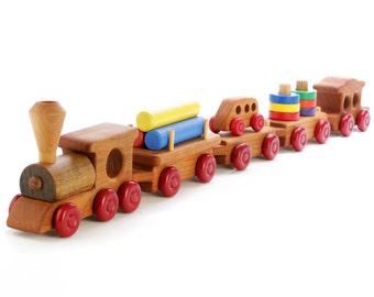 Wooden Train Set - Toddler Toy