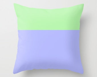 Pistachio and Plum Pillow Cover, colorblock pillow cover