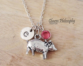 Pig Necklace - Antique Silver Pig Jewelry - Monogram Personalized Initial and Birthstone
