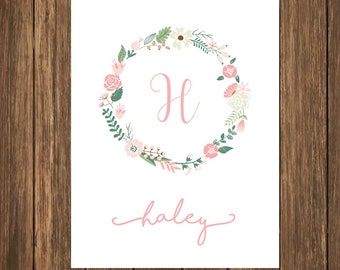 Custom Monogram Art Print, personalized print, personalized gift, family home art, Nursery Art