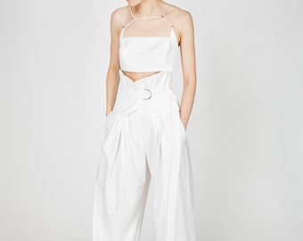 SS17, Emily White High Waist Wide Leg Pants by Other Theory, 17SS081
