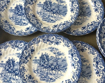 Set of 6 Johnson Brothers Coaching Scenes Bread and Butter or Dessert Plates Hunting Country