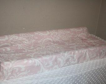 Bella Pink Damask Contour Changing Pad Cover