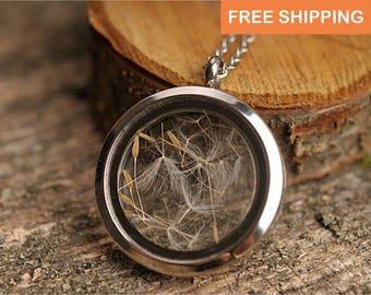 Pure dandelion necklace, nature necklace, silver plated necklace, dandelion seed necklace, dandelion pendant, dandelion locket necklace