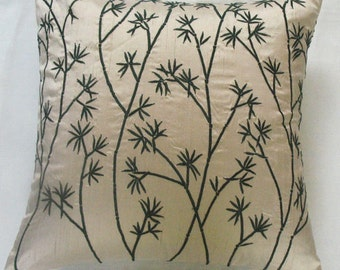 cream throw pillow cover with dark green bamboo design. Custom made to  12 x 20 inch