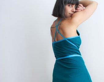 Blue cotton jersey spaghetti strap summer dress / Blau baumwolle Trägerkleid