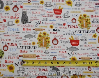 Everything Favs Baking Cats Sunflowers on White  BY YARDS Robert Kaufman Fabric