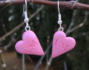 Heart Love Earrings.  Polymer Clay in Pink