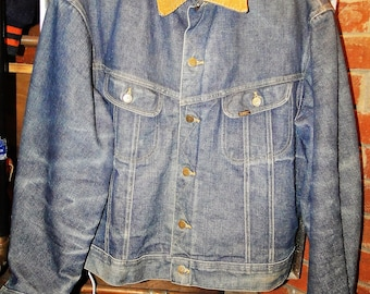 Vintage LEE Storm-Rider-Lined-Denim-Work-Coat-Jean-Jacke size 48 LOOK 46