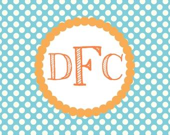 Blue and Orange Folded Thank You Notes (Set of 10)