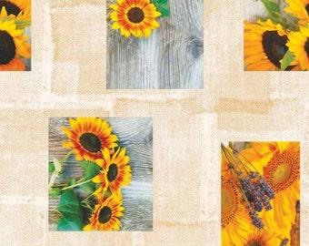Oilcloth tablecloth fabric C144221 sunflower wood width 160 cm