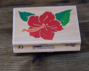 Rubber Stamp, Hibiscus Flower,  All Night Media, Wood Mounted Rubber Stamp, Destash