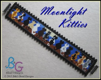 MOONLIGHT KITTIES Peyote Cuff Bracelet Pattern
