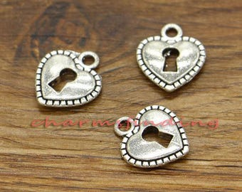 30pcs Heart Lock Charms 2 Sided Charms Antique Silver Tone 14x16mm cf0223