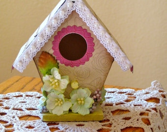 A-Frame Mini Bird House decorated with pearls - laces - designer paper
