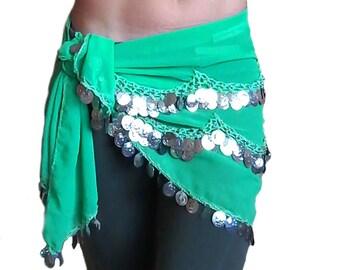Green scarf belt for belly dance