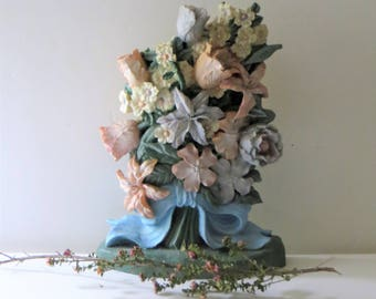 Chalkware Doorstop, Vintage Chalkware Flowers Bouquet Doorstop, Bookend